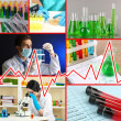 Collage of scientists and laboratory experiments — Stock Photo #36116155