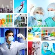 Collage of scientists and laboratory experiments — Stock Photo #36116235