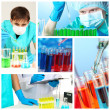Collage of scientists and laboratory experiments — Stock Photo #36116253