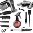 Collage of hairdressing tools isolated on white — Stock Photo #36116673
