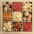 Assortment of tasty nuts in wooden box on table — Stock Photo #36116755