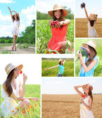 Collage of beautiful summer girl — Stock Photo