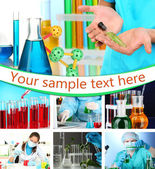 Collage of scientists and laboratory experiments — Stock Photo