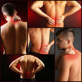 Collage representing man having pain at several part of body — Stock Photo