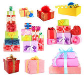 Colorful gift boxes isolated on white — Stock Photo