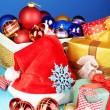 Beautiful Christmas composition with Christmas toys close-up — Stok fotoğraf