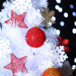 White Christmas tree on bokeh background — Stock Photo