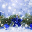 Composition of the Christmas decorations on light winter background — Стоковая фотография
