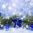 Composition of the Christmas decorations on light winter background — Lizenzfreies Foto