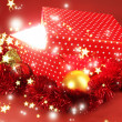 Gift box with bright light on it on red background — Стоковая фотография