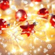 Christmas ornaments and garland close-up — 图库照片