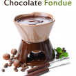 Chocolate fondue, isolated on white — Stock Photo