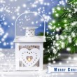 Christmas lantern, fir tree and decorations on light background — ストック写真