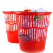 Two red garbage bins, isolated on white — Стоковая фотография
