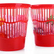 Two red garbage bins, isolated on white — 图库照片 #36127603