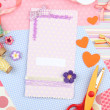 Stock Photo: Beautiful hand made post card and scrapbooking elements