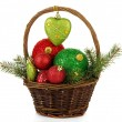 Stock Photo: Christmas decorations in basket isolated on white