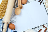 Cooking concept. Basic baking ingredients and kitchen tools close up — Foto de Stock