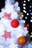 White Christmas tree on bokeh background — Stock Photo