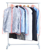 Office male shirts in cases for storing on hangers, isolated on white — Stok fotoğraf