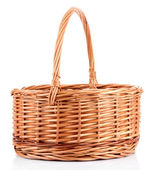 Empty wicker basket, isolated on white — Stock Photo