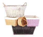 Many different baskets isolated on white — Stock Photo