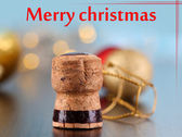 Champagne cork on Christmas lights background — Zdjęcie stockowe