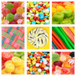 Collage of different colorful candies and sweets — Stock Photo