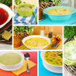 Collage of different soups — Foto Stock