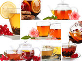 Tasty tea collage — Stock Photo