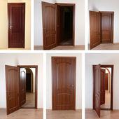 Collage of wooden doors — Stock Photo