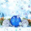 Composition of the Christmas decorations on light winter background — Stock Photo #36233815