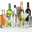 Stock Photo: Collection of various glasses and drinks isolated on white
