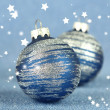 Stock Photo: Christmas balls on blue background