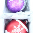 Beautiful packaged Christmas balls, close up — Photo #36232863