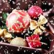 Beautiful Christmas decor on brown satin cloth — Foto Stock