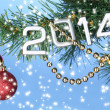 2014 hang on Christmas tree close-up on blue background — Foto Stock