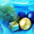 Beautiful Christmas decor on blue cloth — Stok fotoğraf