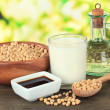 Photo: Soy products on table on bright background