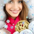 Beautiful girl in hat with Christmas ball isolated on white — Stock Photo