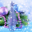 Decorative Christmas tree, on bright background — Stock Photo