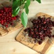 Fresh and dry cranberry on wooden table close-up — Stock Photo