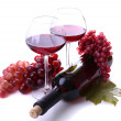 Wineglasses with red wine, grape isolated on white — Stock Photo