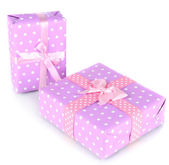 Gift boxes, festive wrapping isolated on white — Foto Stock