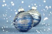 Christmas balls on blue background — Zdjęcie stockowe