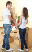 Young couple moves into new home — Foto de Stock