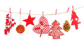 Christmas decorations isolated on white — Photo