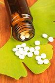 Hojas de ginkgo biloba y botella de medicina sobre fondo de madera — Foto de Stock