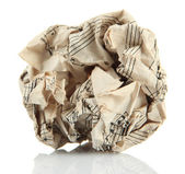 Crumpled paper ball isolated on white — Stock Photo