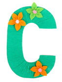 Letter C created with brightly colored knitting yard isolated on white — Stock Photo